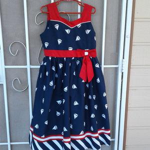 "Jayne Copeland Girls Dress ""Sailboats"" Sz 10"